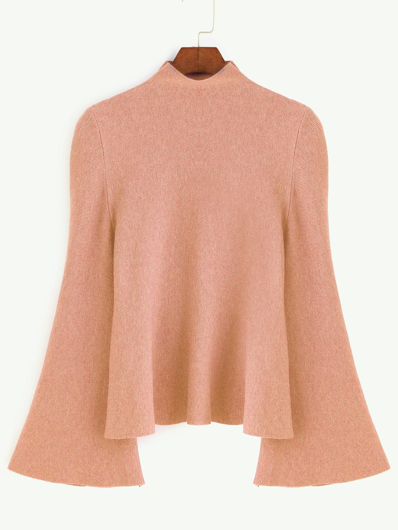 цены Dark Pink Mock Neck Bell Sleeve Jersey Sweater