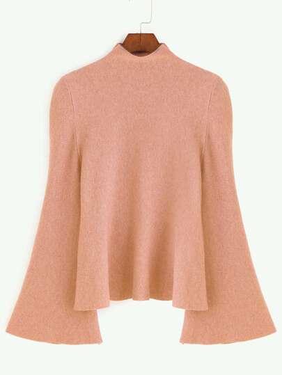 Pull tricoté à collier clone manchon de cloche -rose foncé
