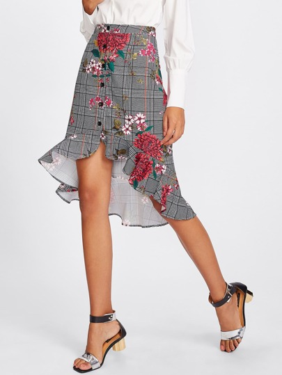 Button Up Ruffle Trim Mixed Print Skirt