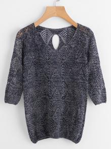 V-neckline Keyhole Back Open Knit Sweater