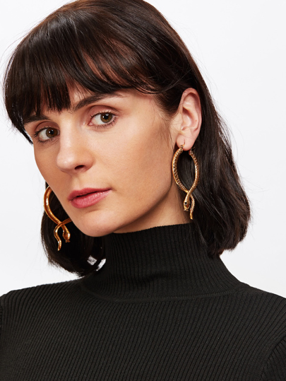 Snake Design Hoop Earrings