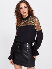 Embroidered Mesh Yoke Bell Cuff Top