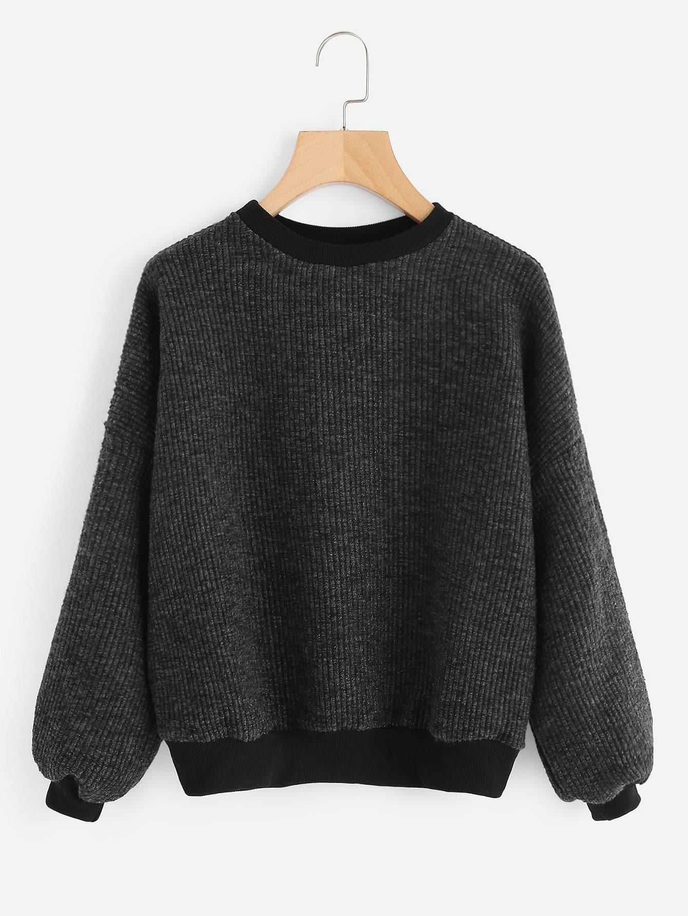 Lantern Sleeve Drop Shoulder Ribbed Sweater rkni171101154