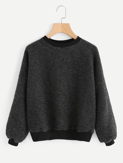 Lantern Sleeve Drop Shoulder Ribbed Sweater