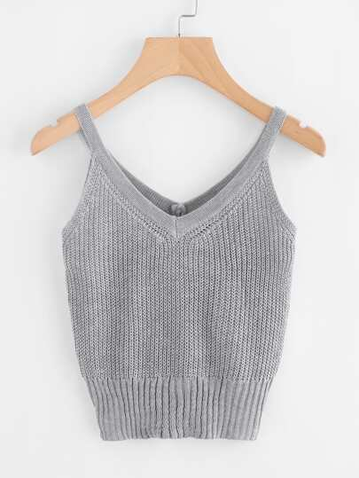 V Neckline Textured Knit Cami Top