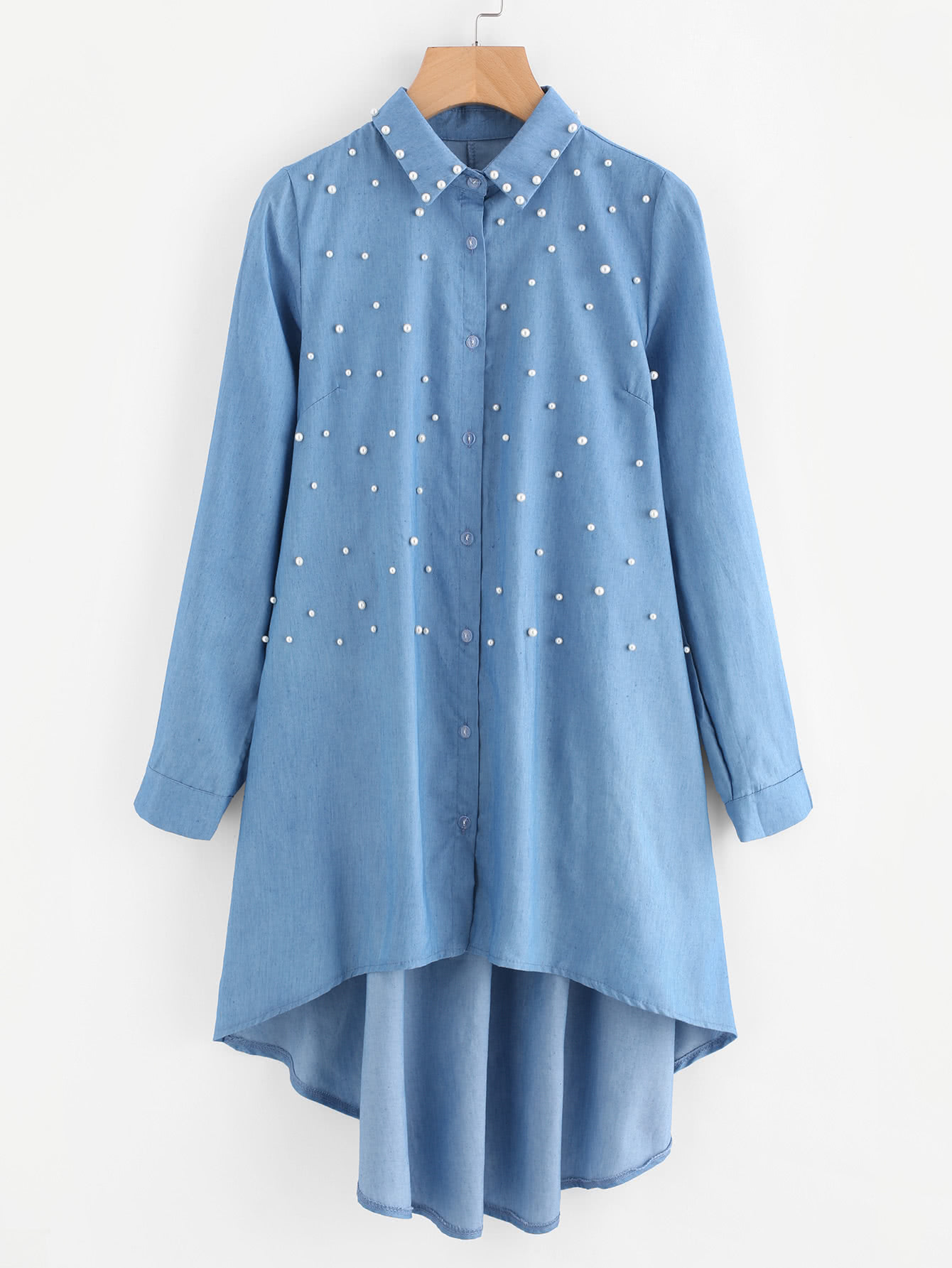 Image of Faux Pearl High Low Denim Shirt