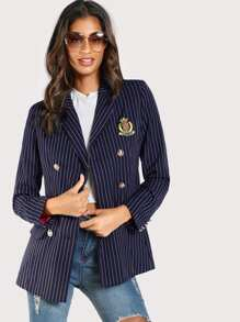 Patch Detail Golden Button Pinstripe Blazer