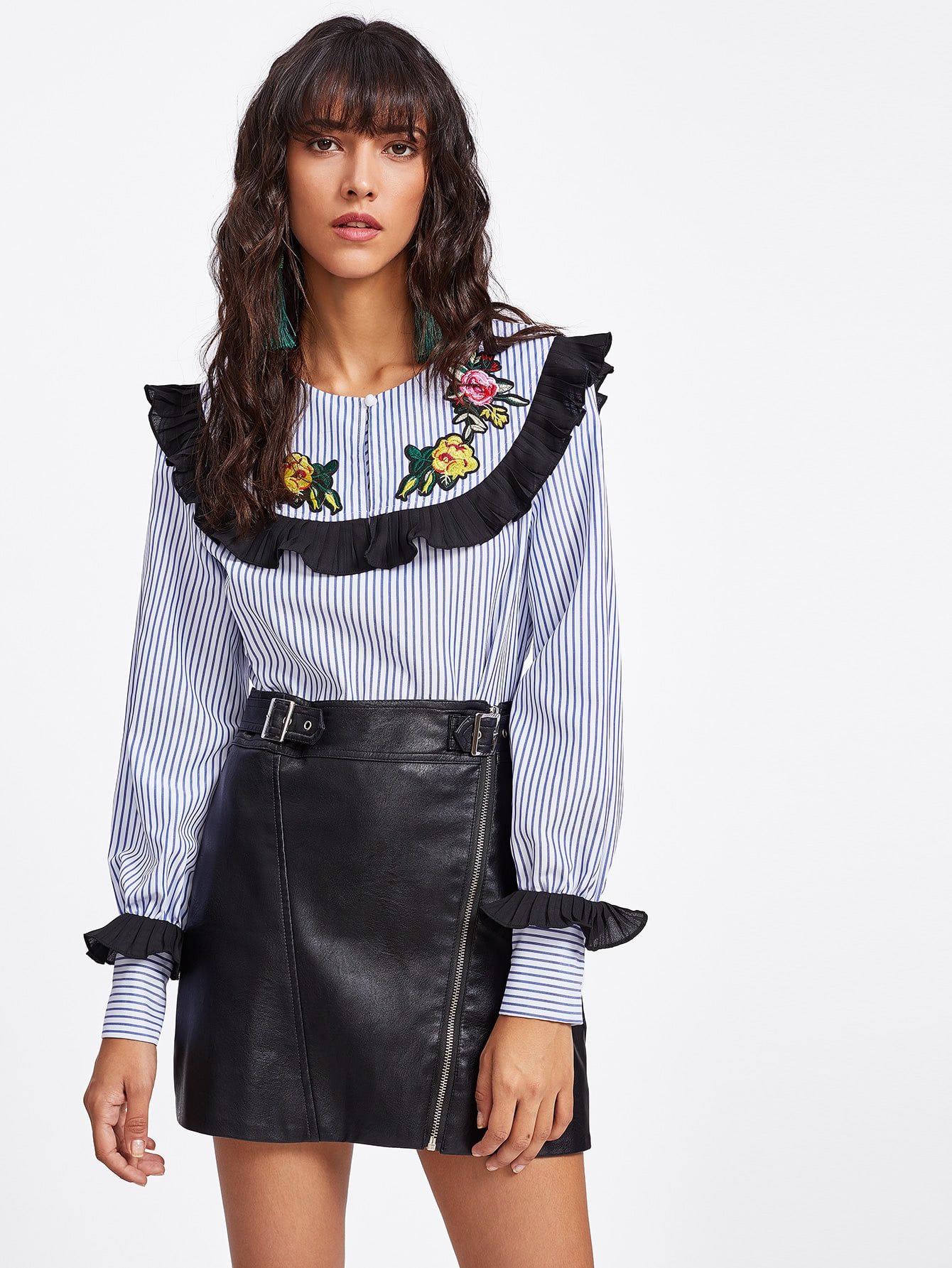 Frill Detail Embroidered Patch Striped Blouse frill sleeve tape detail sweatshirt