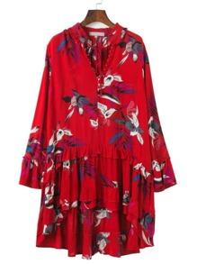 Floral Print Tied V Neckline Dip Hem Dress