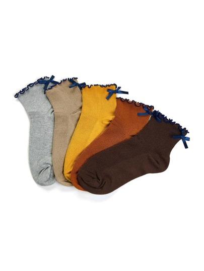 Lettuce Trim Bow Detail Socks 5pairs