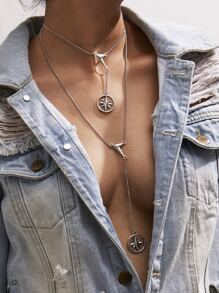 Layered Choker Necklace With Charm