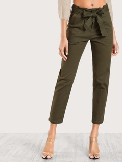 High Rise Belted Cargo Pants OLIVE