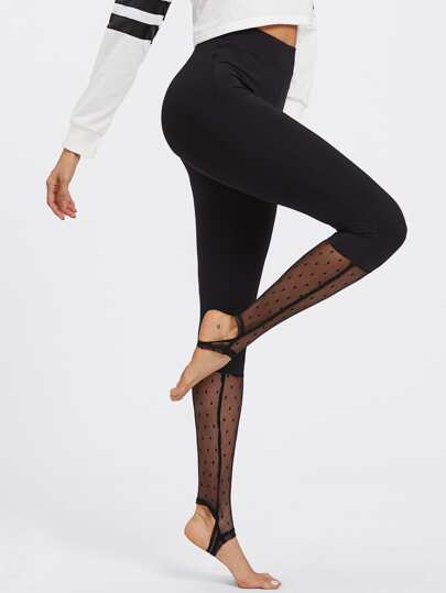 Dot Mesh Panel Mixed Media Stirrup Leggings