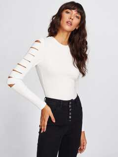 Ripped Sleeve Rib Knit Top