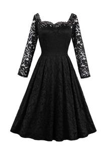 Lace Panel Zip Detail Flare Dress