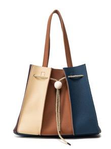 Color Block Tassel Decorated PU Drawstring Shoulder Bag