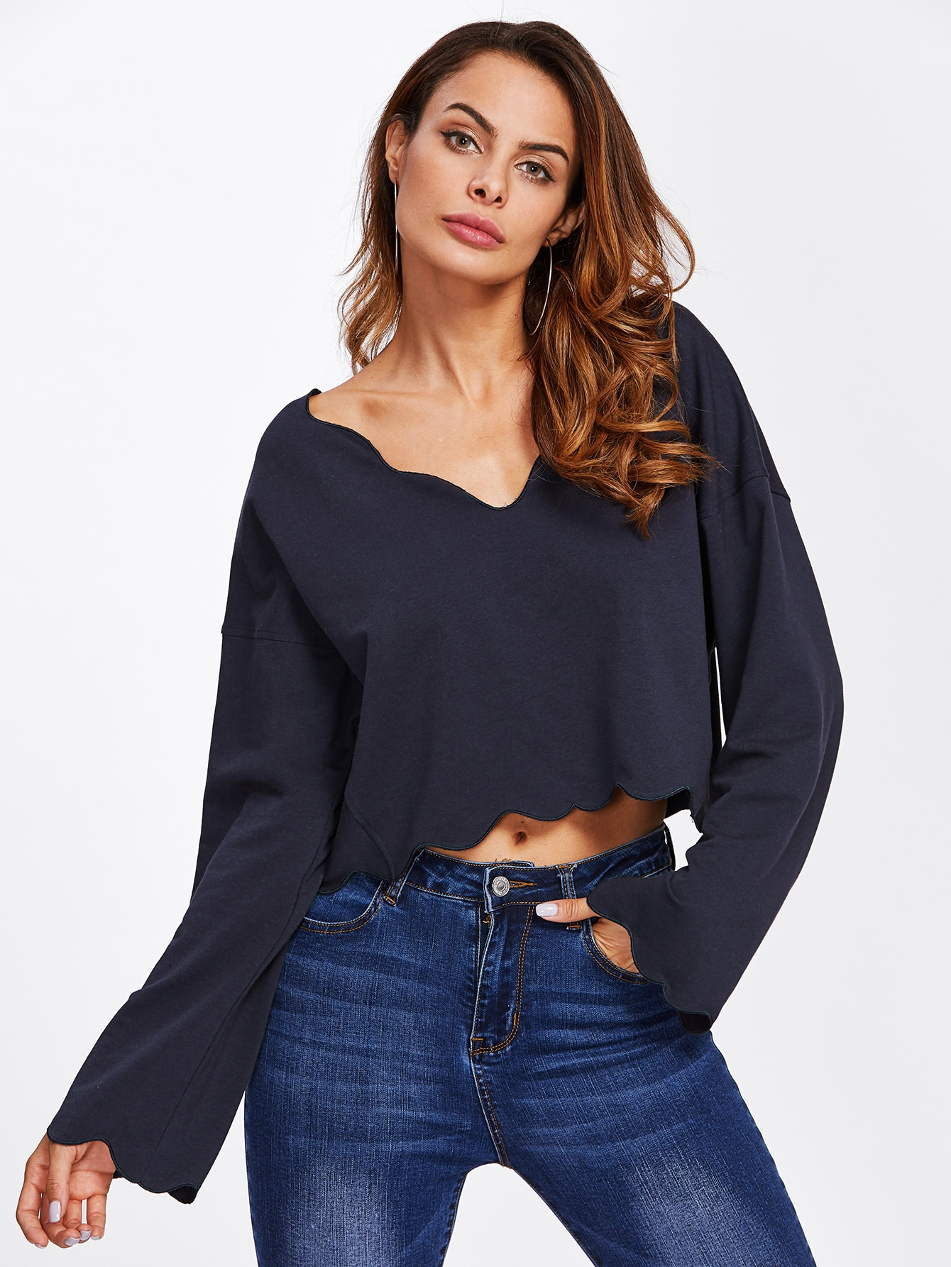 Drop Shoulder Scalloped Trim Crop Sweatshirt drop shoulder frill hem batwing sweatshirt