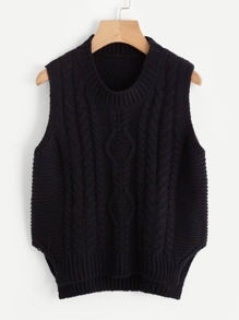 Split Side Dip Hem Cable Knit Vest