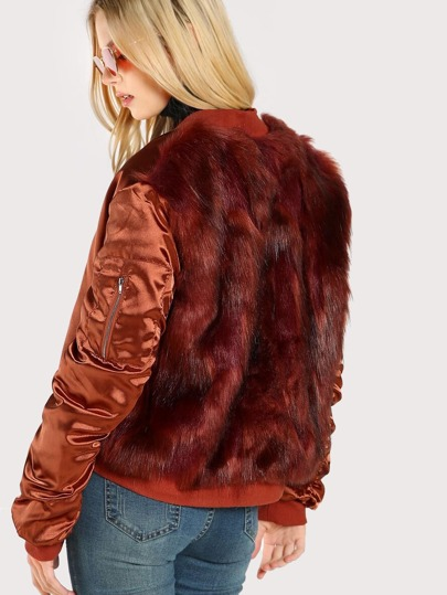 Faux Fur Lined Bomber Jacket RUST