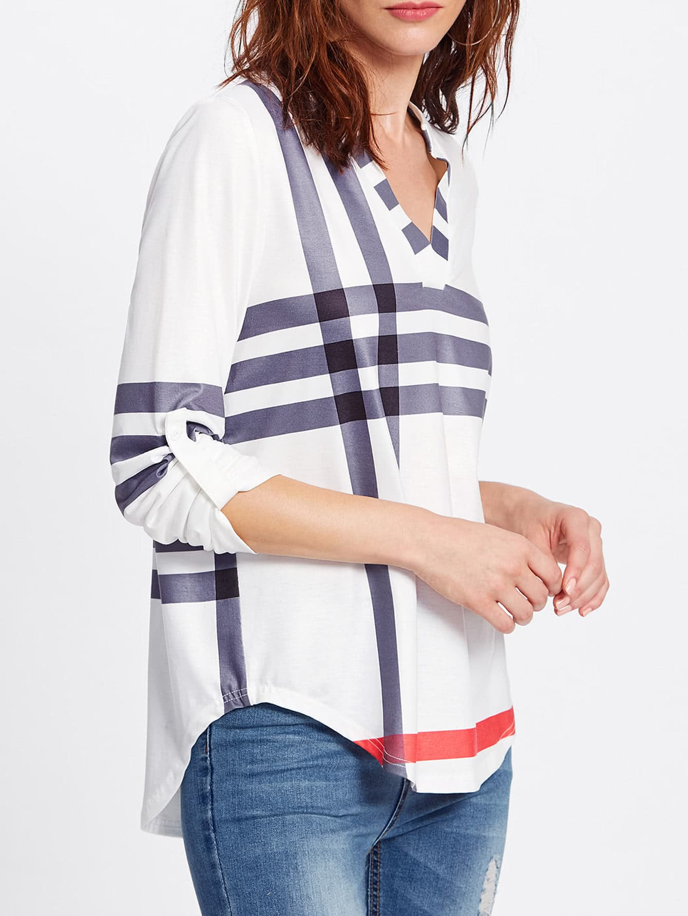 Roll Tab Sleeve Mixed Striped V Neck Top roll tab sleeve knotted hem striped shirt