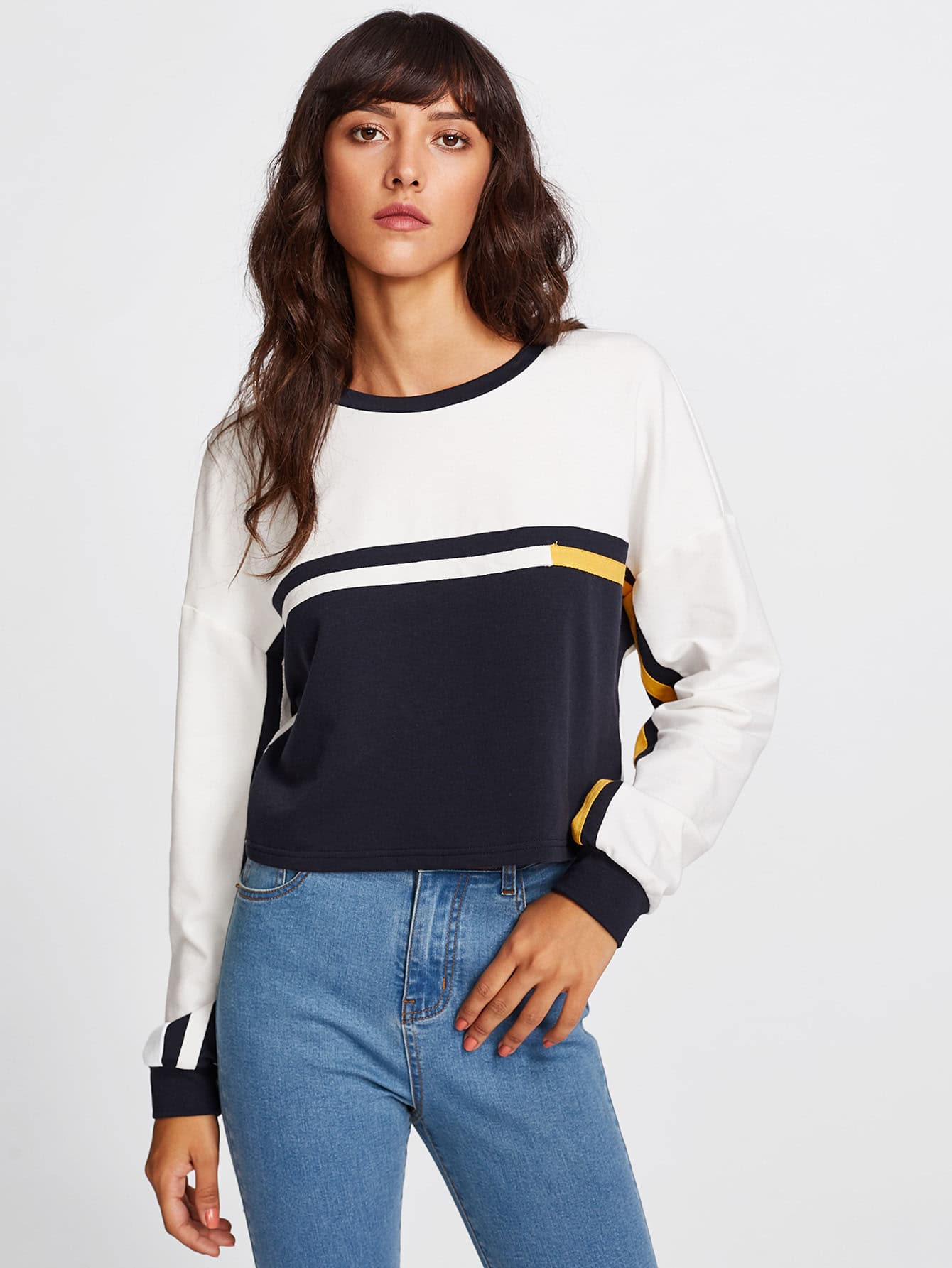 Drop Shoulder Cut And Sew Crop Sweatshirt