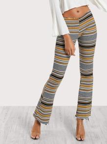 Multi Stripe Stretch Pants MUSTARD