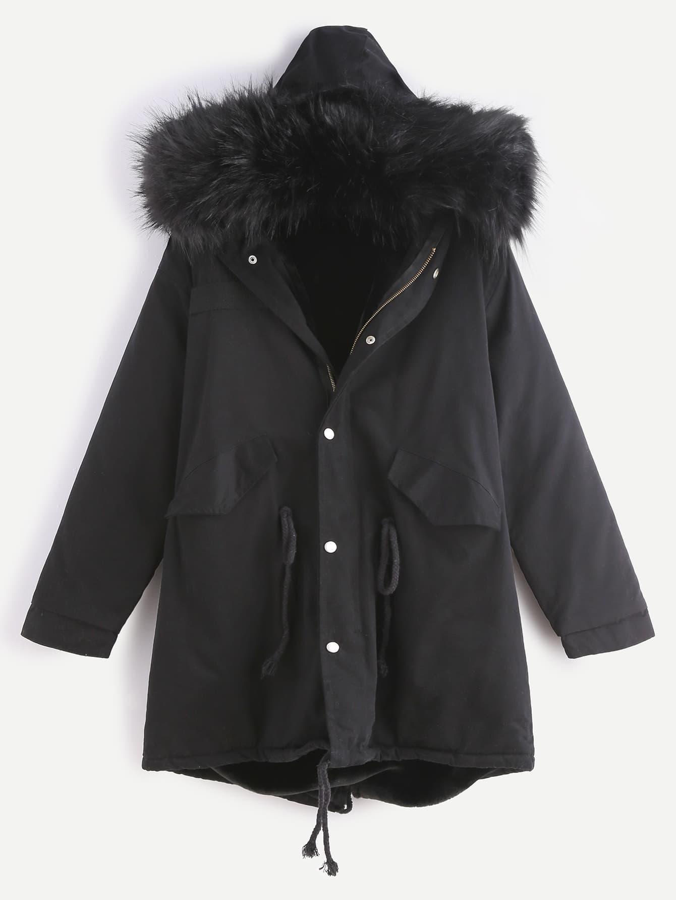 Black Drawstring Hooded Fleece Lined Faux Fur Trim Parka
