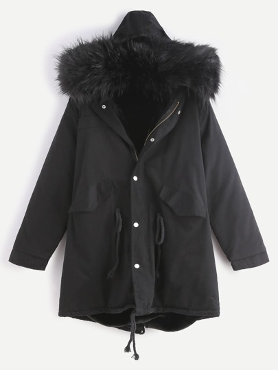 Black Drawstring Hooded Fleece Lined Faux Fur Trim Parka