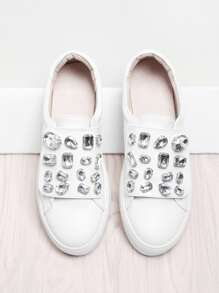 Rhinestone Detail Slip On Sneakers