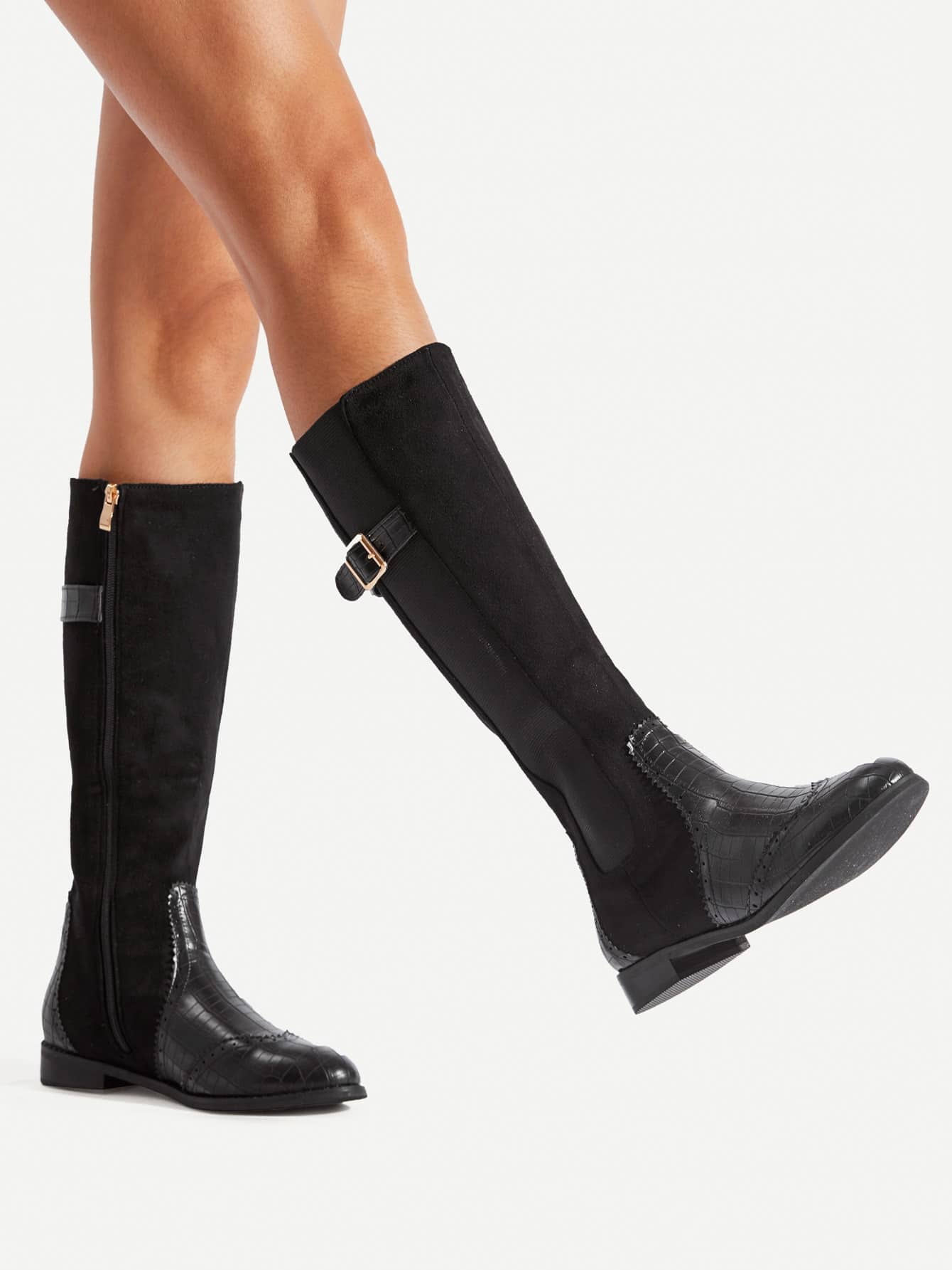 Buckle Detail Side Zipper Mid Calf Boots double buckle cross straps mid calf boots