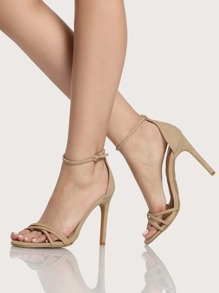 Strappy Faux Leather Ankle Strap Heels NATURAL