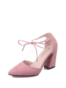 Suede Point Toe Chunky Heels