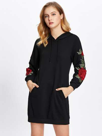 Embroidered Rose Applique Sweatshirt Dress