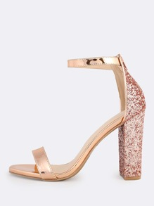Ankle Strap Glitter Accent Heels ROSE GOLD