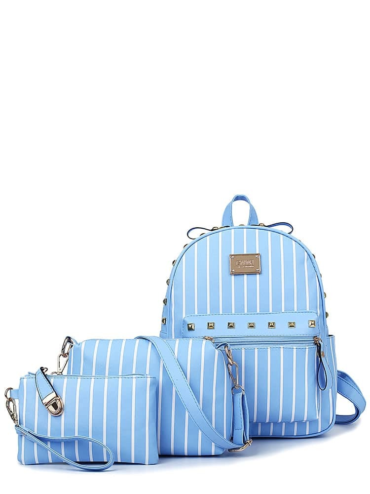 Image of 3 Pcs Rivet Pendant Striped Bags Set