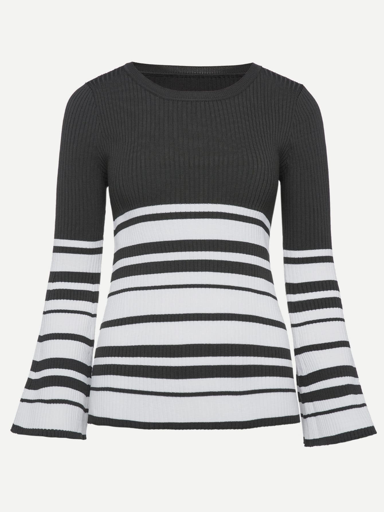 Contrast Striped Ribbed Sweater sweater171013373