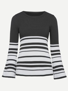 Contrast Striped Ribbed Sweater