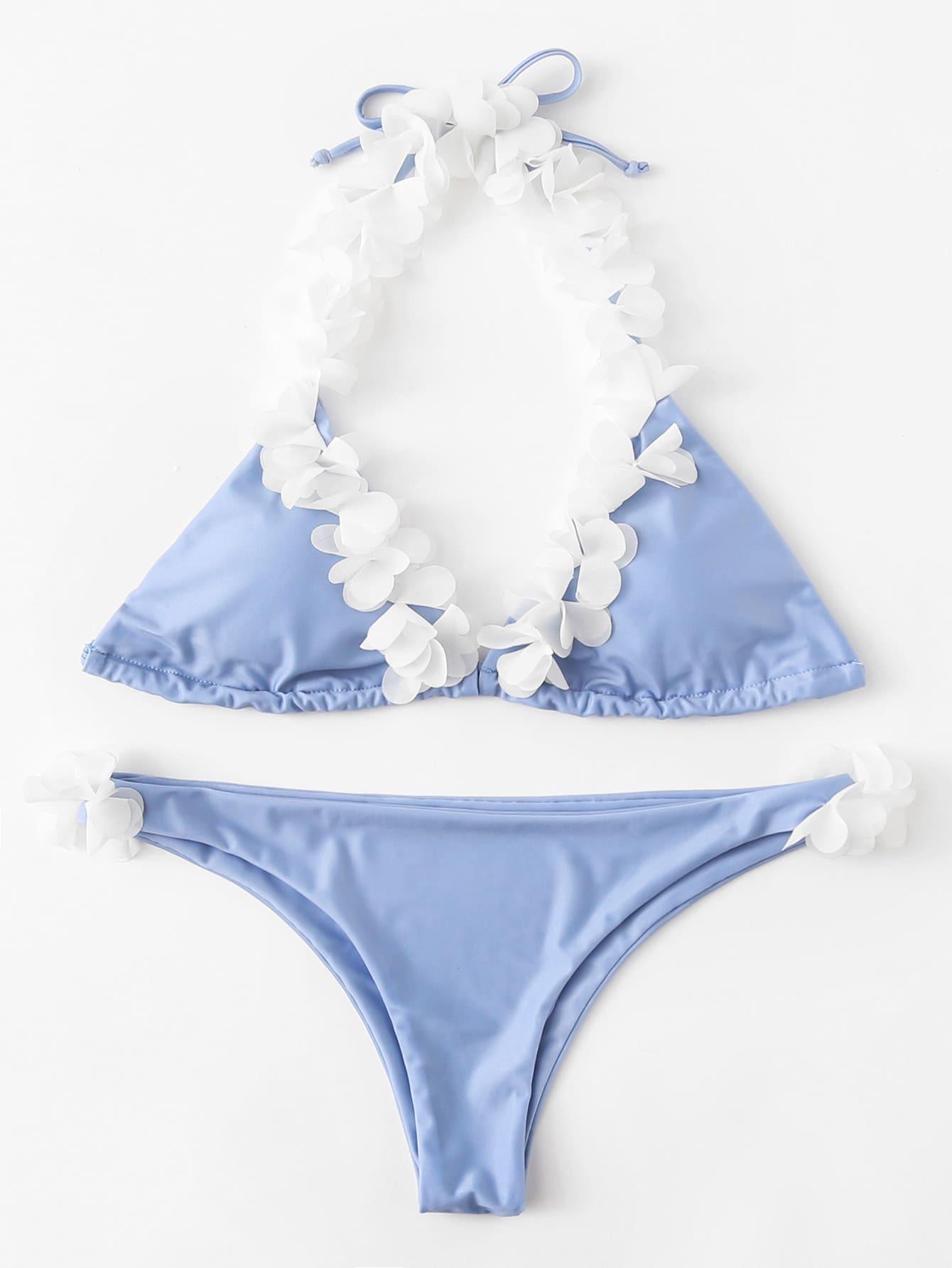 Купить Модный купальник-бикини с бантом и цветками, null, SheIn