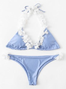 Self Tie Flower Halter Bikini Set