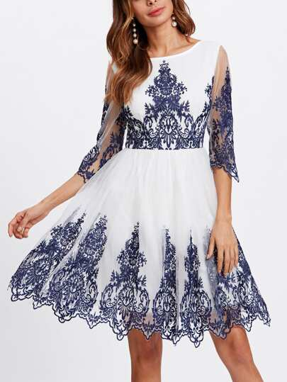 Embroidered Mesh Overlay Fitted & Flared Dress