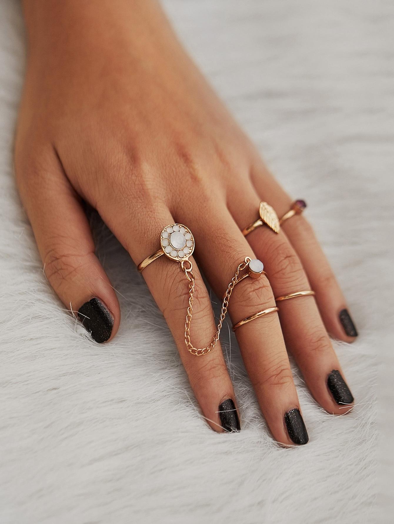 Rhinestone Leaf Design Ring Set embossed rhinestone hollow leaf ring