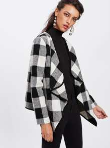 Contrast Binding Drape Collar Plaid Coat