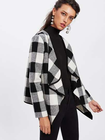 Contrast Binding Drape Collar Plaid Coat