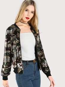 Sequin Multi Print Jacket GREEN