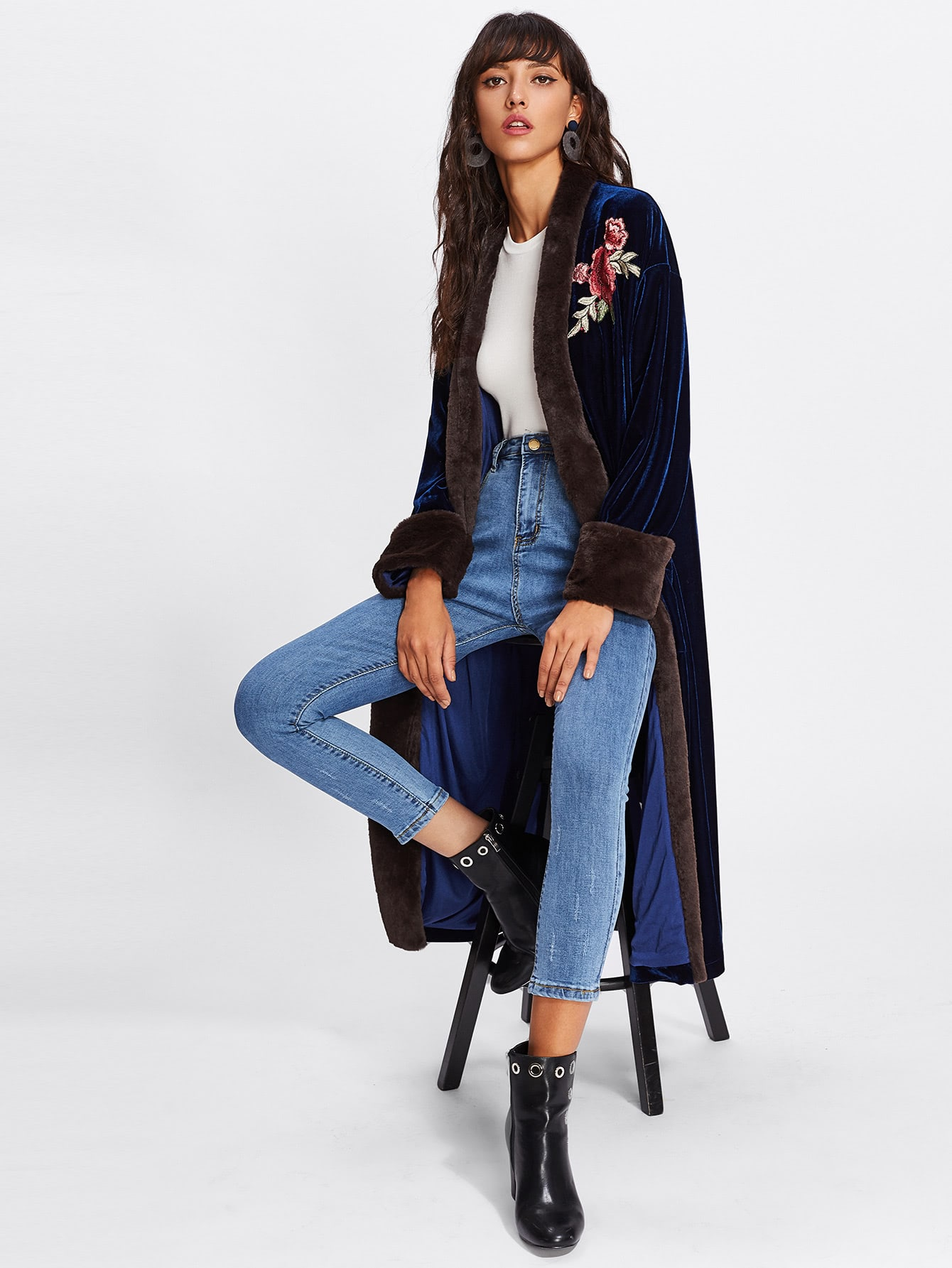 Rose Embroidery Patch Open Front Velvet Coat keyhole front floral embroidery velvet dress
