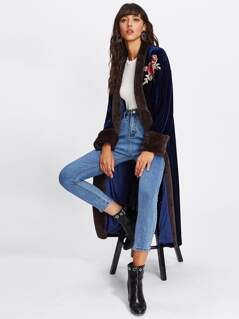 Rose Embroidery Patch Open Front Velvet Coat