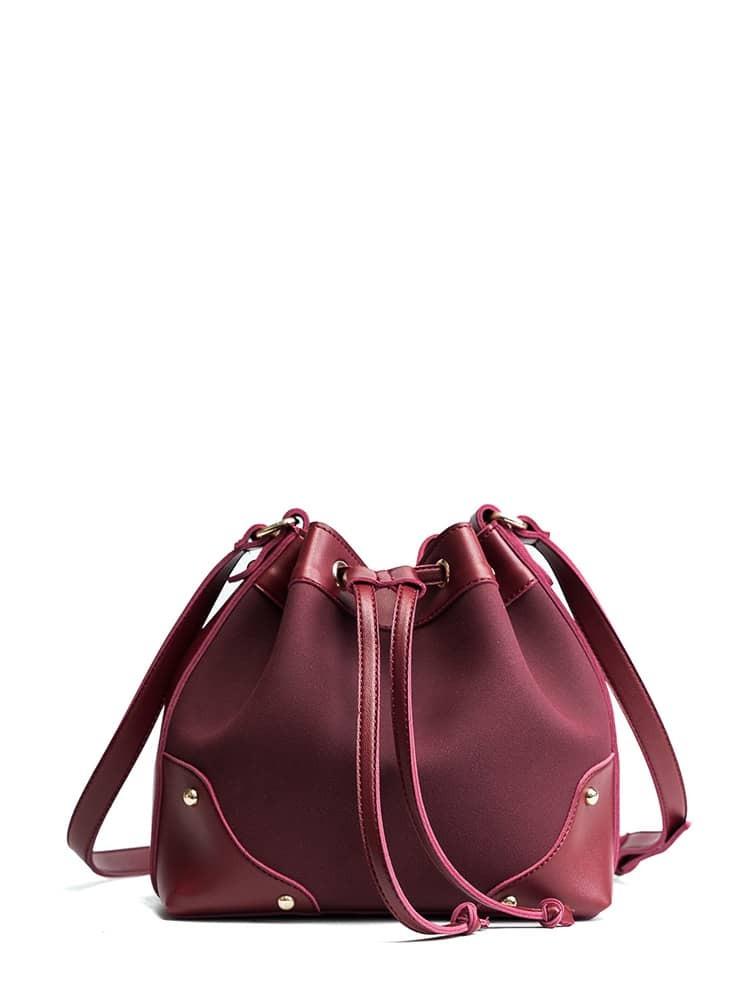 Studded Detail Contrast PU Bucket Bag