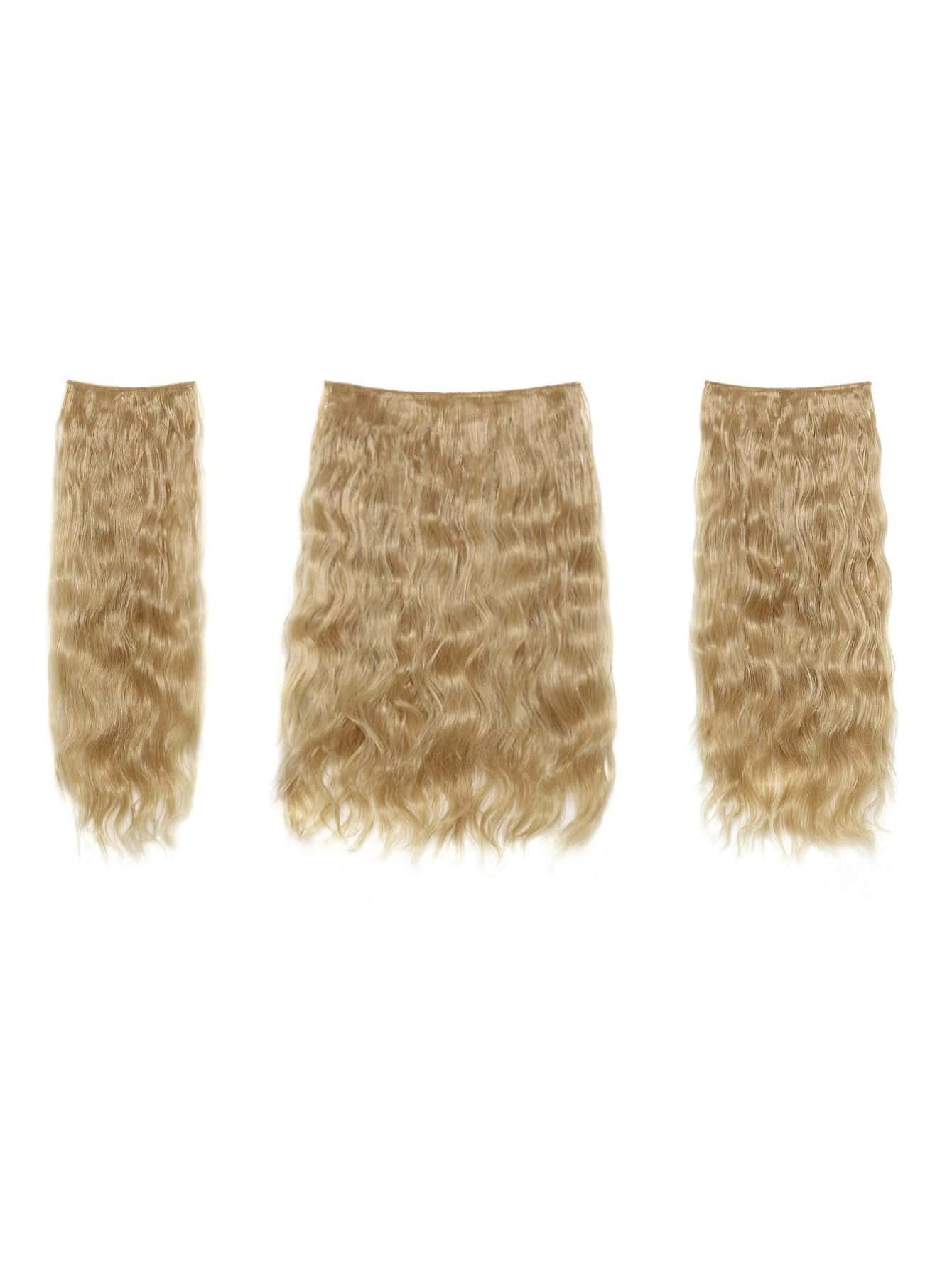 Champagne Blonde Clip In Curly Hair Extension 3pcs