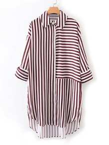 Dolphin Hem Striped Shirt Dress