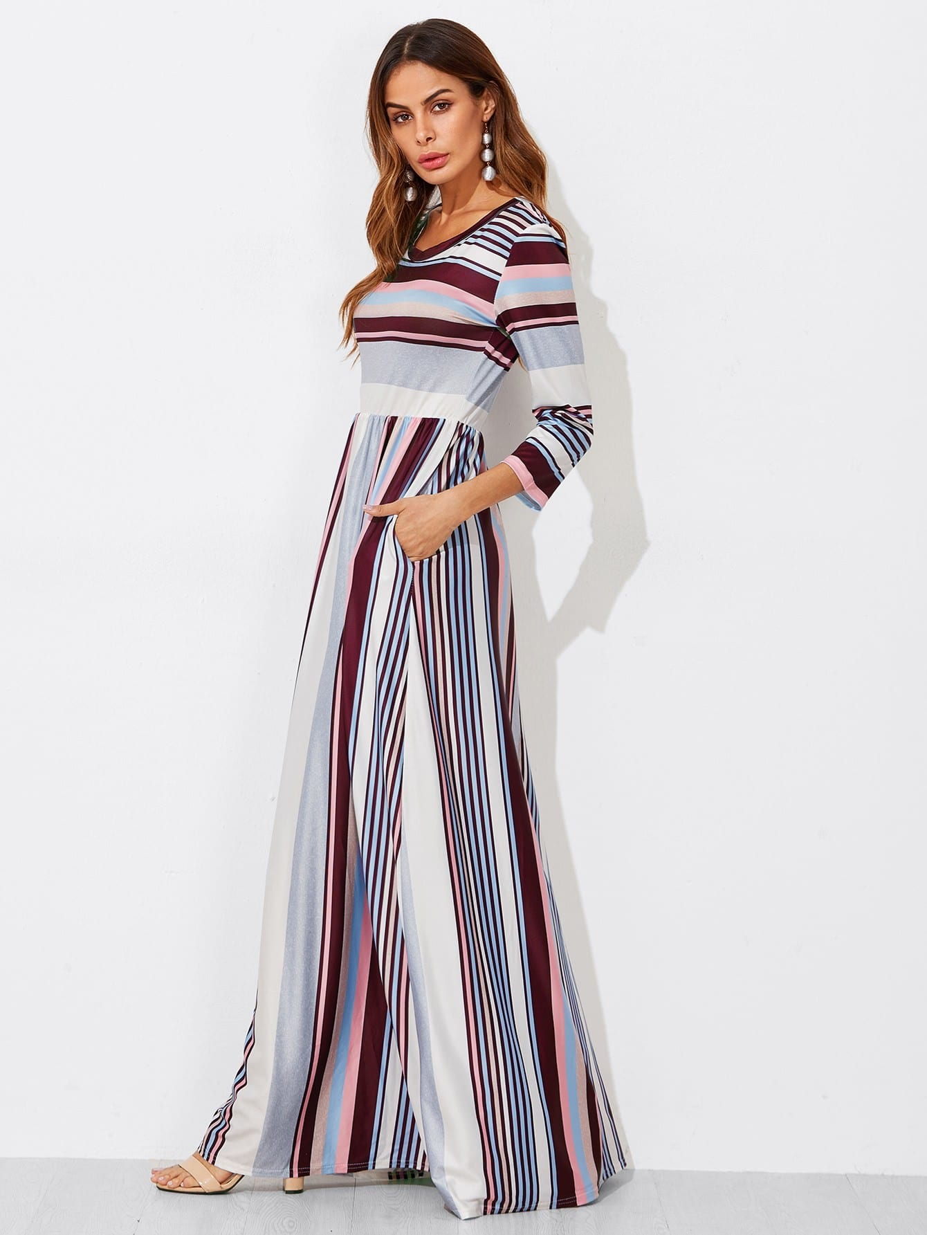 Colorful Striped High Waist Dress colorful striped high waist dress